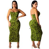 Sexy Straps Leopard Midi Dress