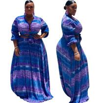 Blauwe en paarse crop top en maxi-rok
