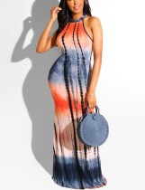 Sexy Batik Halfter langes Kleid
