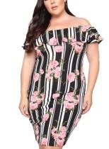 Plus Size Stripes Floral Reifes Kleid