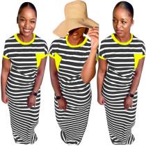 O-Neck Stripes Langes Hemdkleid