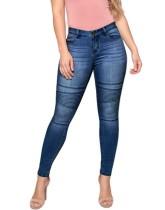 Blauwe strepen strakke jeans