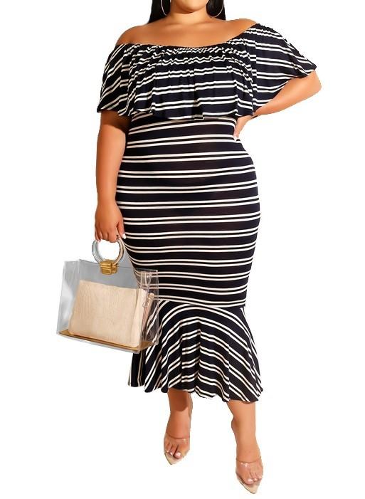 Plus Size Schulterfrei Stripes Mermaid Dress