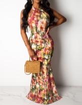 Sexy vestido largo batik halter