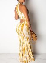 Sexy abito lungo allacciato al batik