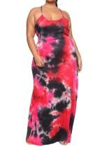 Plus Size Batik Straps Langes Kleid