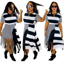 White and Black Stripes Irregular Shirt Dress
