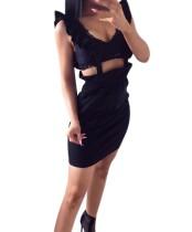 Sheer Mini Ruffles Bib Skirts