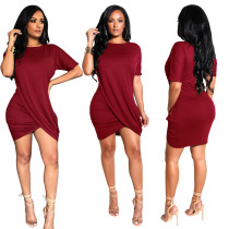 Sheer O-Neck Wrap Mini Dress
