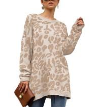 O-cuello suéter de leopardo suéteres largos