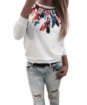 Chemise à manches longues imprimée à col blanc