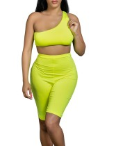 Sexy One Shoulder Neon Crop Top and Shorts