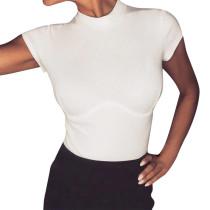 Camicia basic girocollo attillata sexy