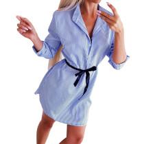 Vestido Blusa Branco e Azul Stripes