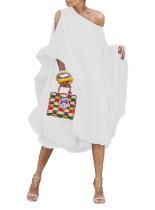 Pure Color One Shoulder Boho Club Dress