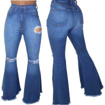 Blauwe sexy gescheurde bell jeans