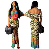 Print off shoulder voorgesneden lange formele jurk