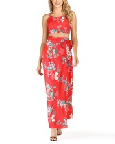 Floral Red Straps Crop Top und Maxiröcke