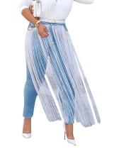 Witte en blauwe kwastjes Jeans