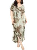 Plus Size Rundhals Batik Langes Kleid mit Schlitz