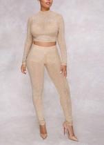 Crop top et leggings moulants sexy perlés