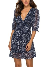 Print Deep-V A-line Dress with Half Sleeves