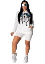 Sequins White Hoody Set et Short
