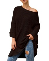 Pure Color Loose Fitting O-cuello Jersey largo Jerseys