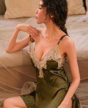 Sexy v-hals gedetailleerde splitriemen nachtkleding