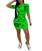 Print Newsletter O-Neck Bodycon Dress
