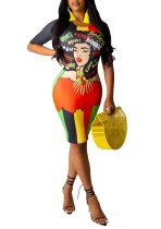 Drucken Charakter bunten, figurbetonten Kleid