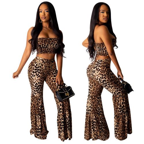 Pantalon et haut à bretelles léopard sexy