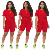 Pure Color Short Sleeves Shorts Set