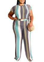 Plus Size Stripes Colorful Crop Top and Pants