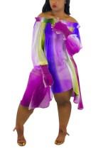 Fora do ombro vestido colorido com mangas pop