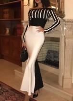 Robe de soirée sirène blanche et noire à épaules dénudées