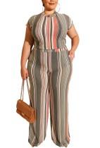 Top corto y pantalones de colores de rayas de talla grande