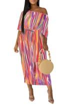 Kemer ile renkli çizgili uzun elbise