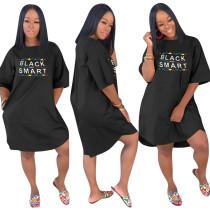 Langes Hemdkleid mit Taschen und O-Ausschnitt