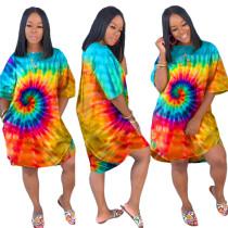 Abito a camicia con scollo a V colorato