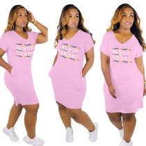 Langes Hemdkleid mit V-Ausschnitt und Taschen