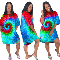 Vestido de camisa de bolso colorido o-pescoço