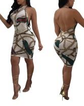 Сексуальное платье с открытой спиной и бретельками