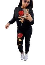 Schwarze Blume Pailletten Trainingsanzug