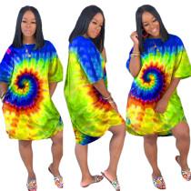 Buntes O-Neck Pocket Shirt Kleid