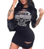 Sexy, eng anliegendes, zerrissenes Hemdkleid