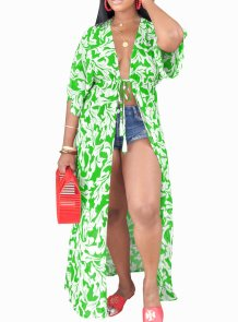 Print Drawstrings Long Cover Ups
