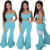 Pure Color Sexy Halter Crop Top and Bell Trousers