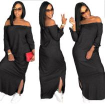 Reine Farbe aus Schulter Schlitz langes Kleid