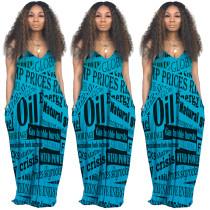 Mavi Sapanlar Uzun Gevşek Elbise Yazdır